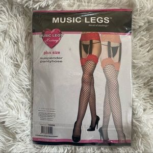 Music leg suspender hosiery fishnet black red PLUS